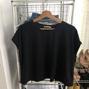 Zara Black Wide Arm T-Shirt Size Large